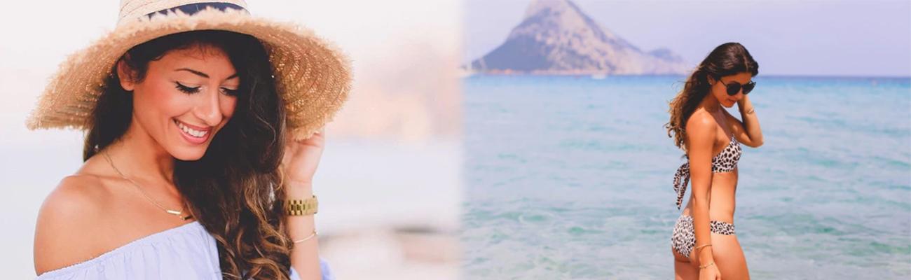 denize kenarında kadın ve şapkalı kadın